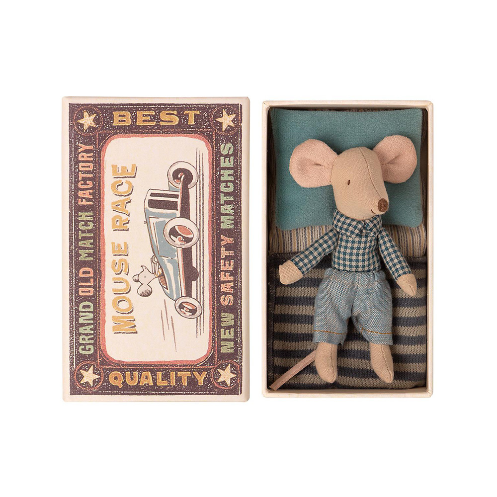 Maileg Mouse - Little Brother in Box - Checkered Shirt