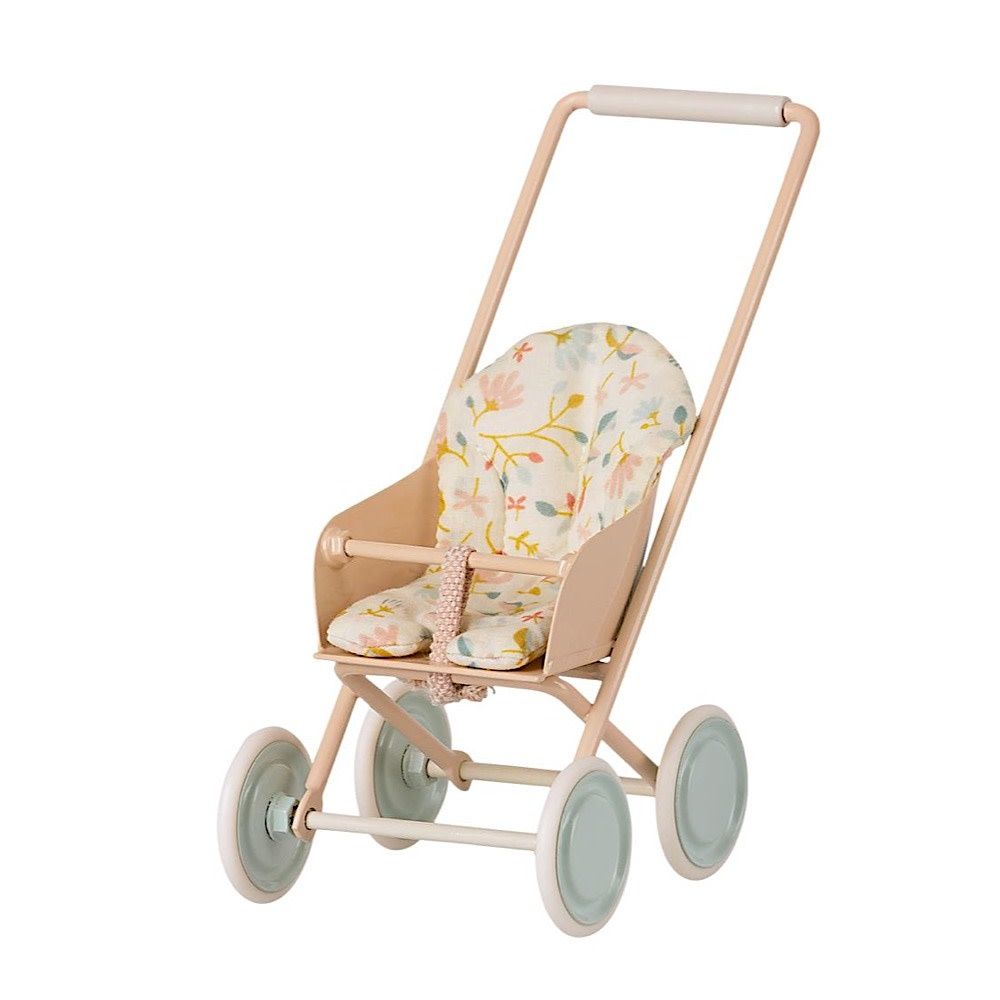 Maileg Micro Stroller - Powder - Cream Pad