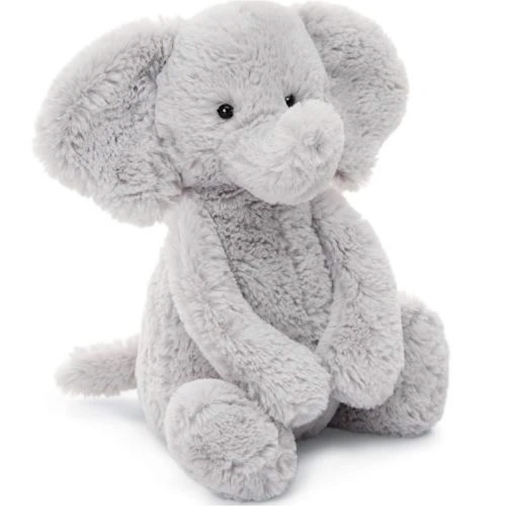 Jellycat Bashful Silver Elephant - Medium - 12 Inches