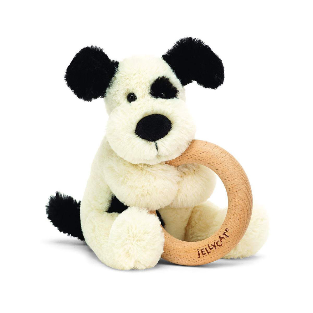 Jellycat Wooden Ring Rattle - Bashful Black & Cream Puppy - 5 Inches