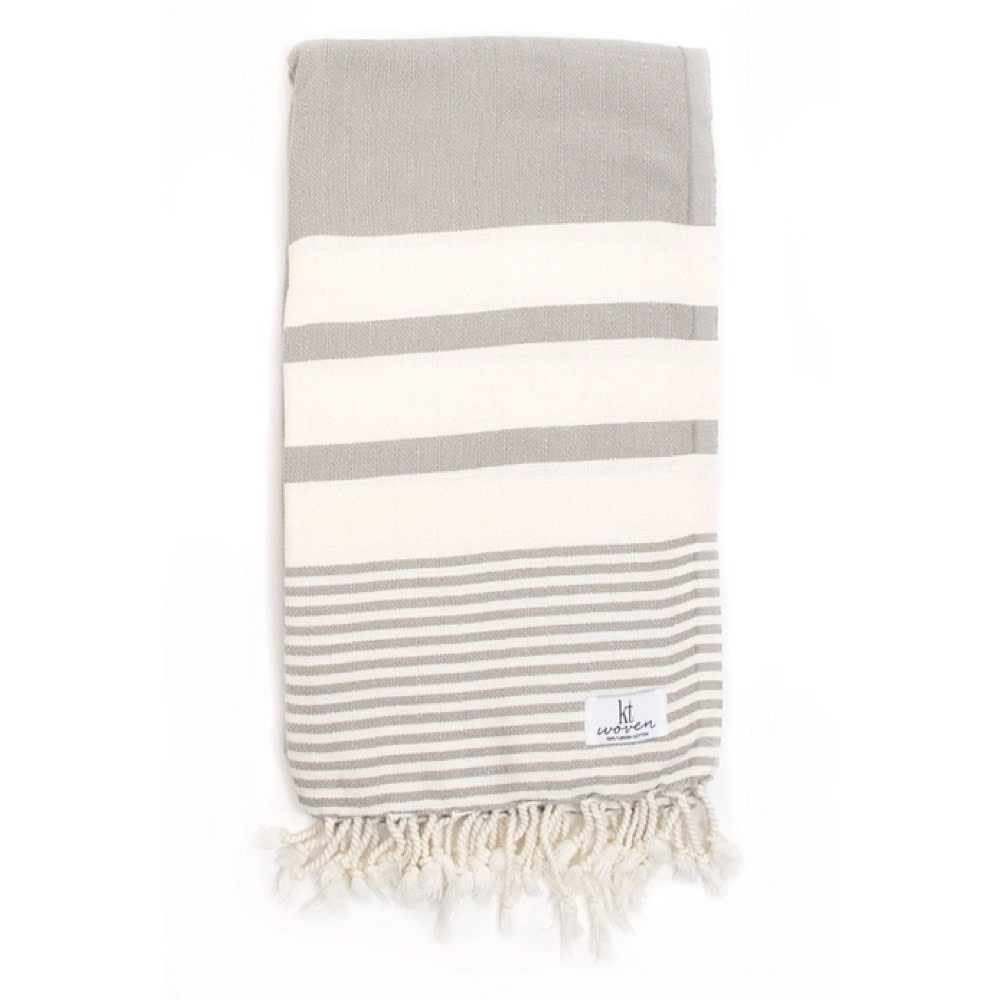 KT Woven KT Woven - Stripe Turkish Towel - Taupe