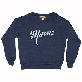 Milo in Maine Milo In Maine Women's Long Sleeve Raglan Pullover - Maine Script Dark Blue/White