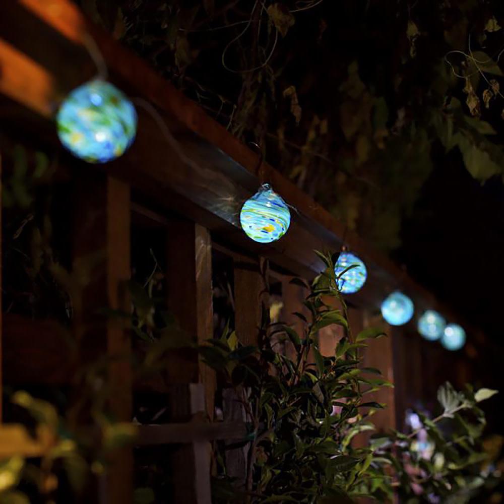 Aurora Glow Glass Solar String Lights