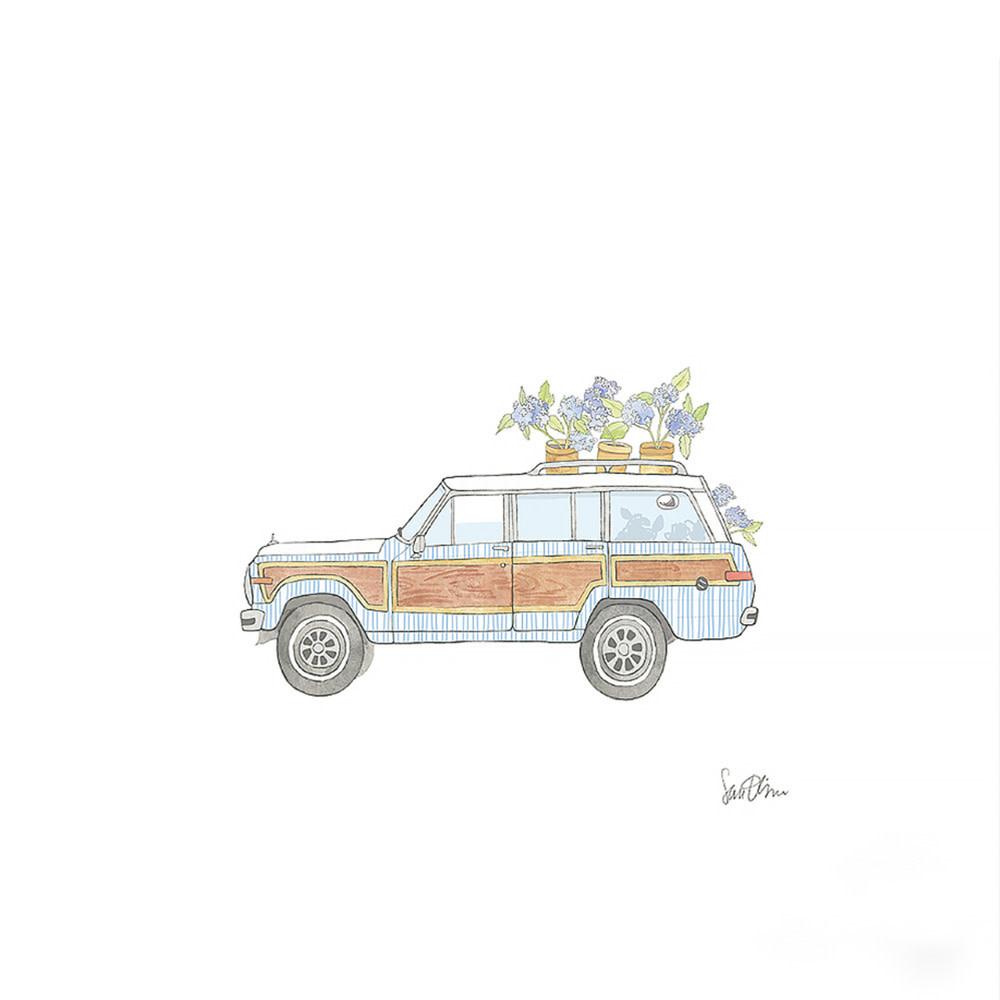 """Sara Fitz - Art Print 17x17"""" - Seersucker Wagoneer"""