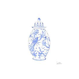 "Sara Fitz Sara Fitz - Art Print 17x17"" - Nautical Ginger Jar"
