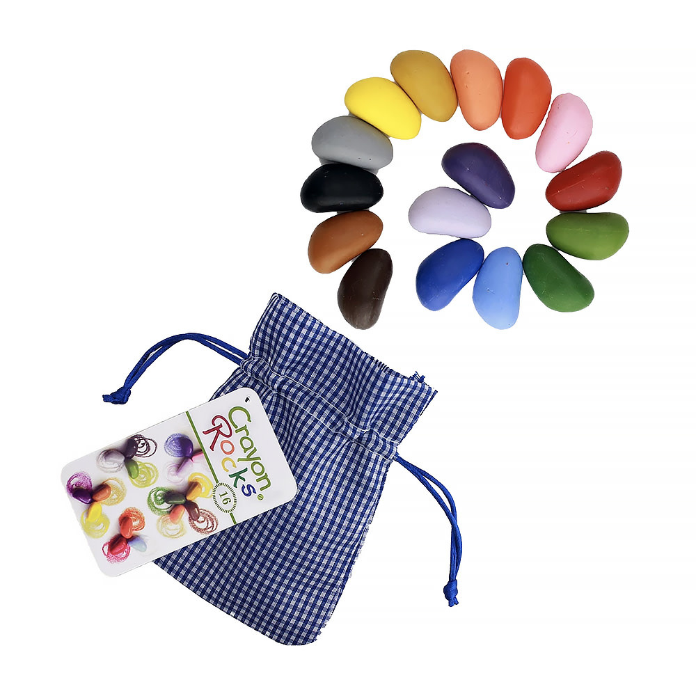 Crayon Rocks - 16 Assorted Colors in Blue Gingham Bag