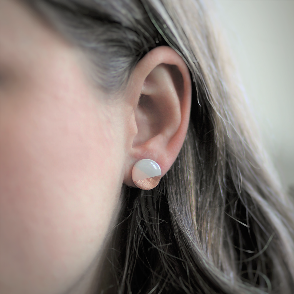 Clay N Wire Stud Earrings - Geometric Pink, Gray, and Rose Gold