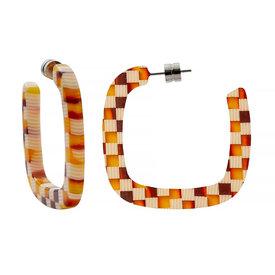 Machete Machete - Midi Square Hoop Earrings - Tortoise Checker