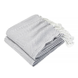 Brahms Mount Brahms Mount - Monhegan Cotton Throw  - Quicksilver on White