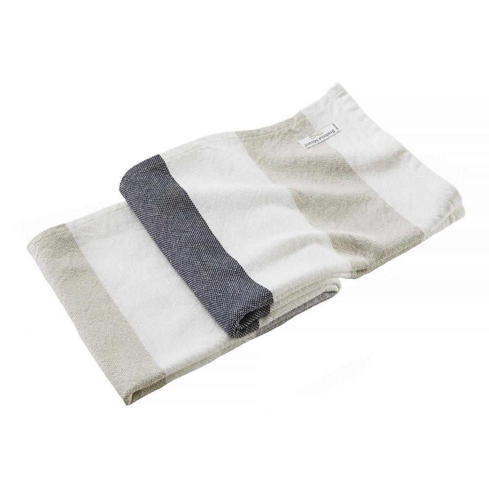 Brahms Mount - Walker's Point Cotton & Linen Day Blanket - Dove Gray / Oyster / Deep Navy