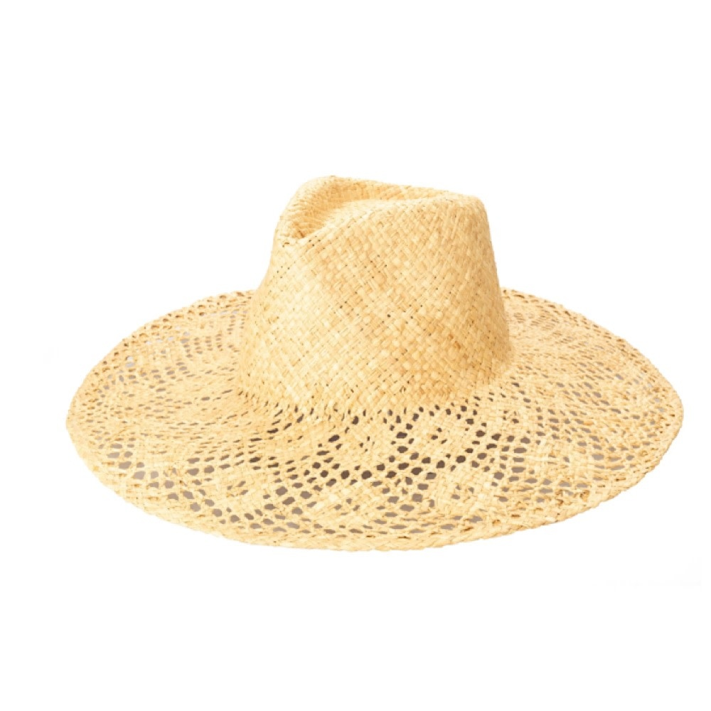 Hand Woven Raffia Hat - Floral Brim