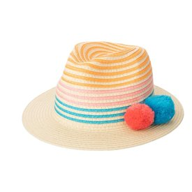 San Diego Hat Company Kids Paperbraid Multi Colored Panama with Poms