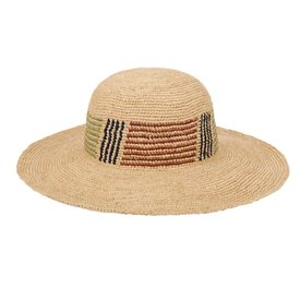 """San Diego Hat Company Raffia Hat - Striped Crown -  3"""" Brim"""