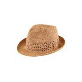 San Diego Hat Company Ultra Braid Fedora With Open Weave Detail - Toast