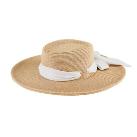 San Diego Hat Company Wide Brim Boater With Scarf Bow - White