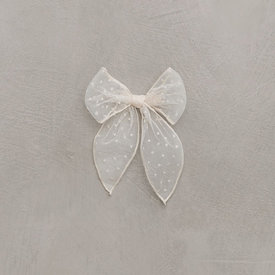 Noralee Noralee Oversized Bow Flocked Dot - Shell