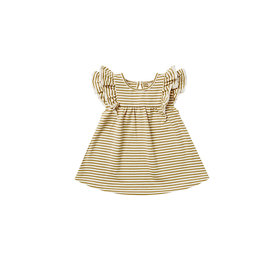 Quincy Mae Quincy Mae Flutter Dress - Gold Stripe