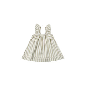 Quincy Mae Quincy Mae Woven Ruffle Tube Dress - Sage Stripe