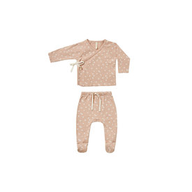 Quincy Mae Quincy Mae Kimono Top + Footed Pant Set - Blossom Petal