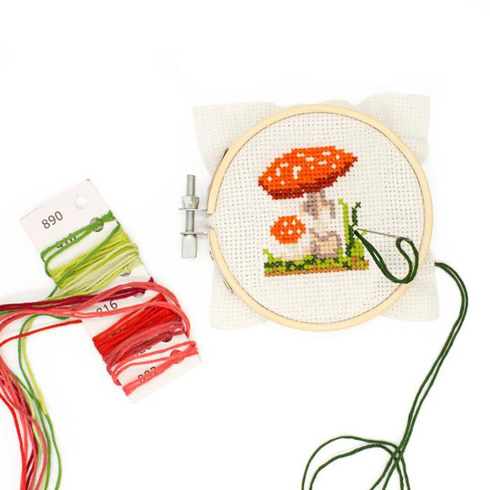 Mini Cross Stitch Embroidery Kit - Mushroom