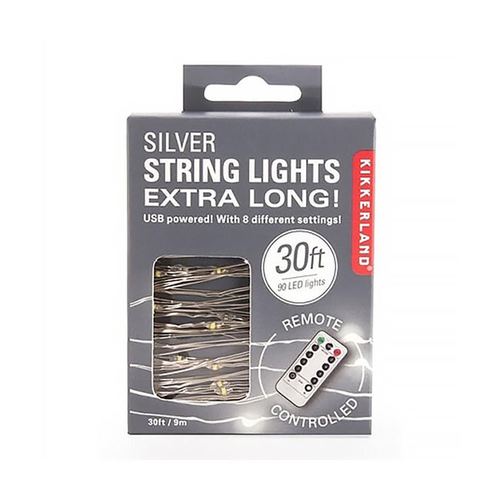Kikkerland Extra Long Silver String Lights