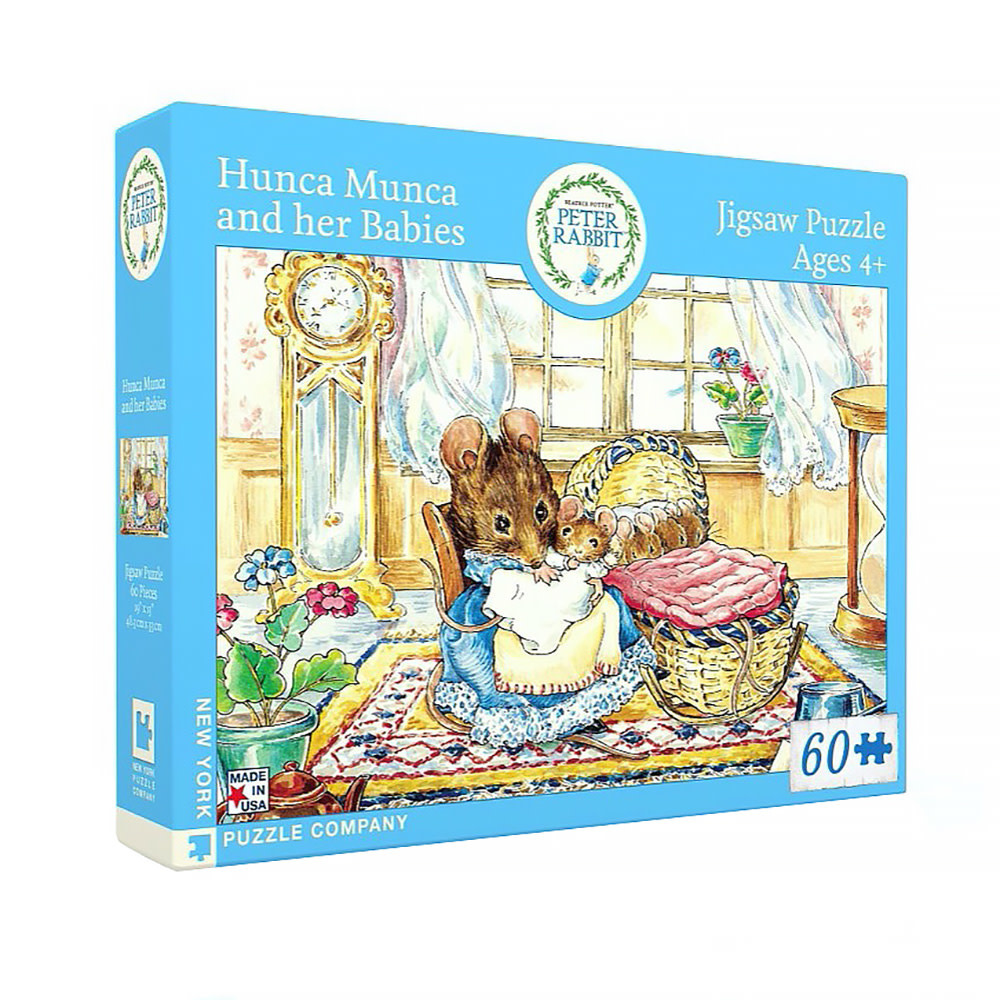 New York Puzzle Co - Hunca Munca and Her Babies - 60 Piece Jigsaw Puzzle