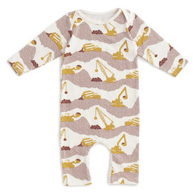 Winter Water Factory Winter Water Factory Long-Sleeve Romper - Construction Yellow & Chestnut