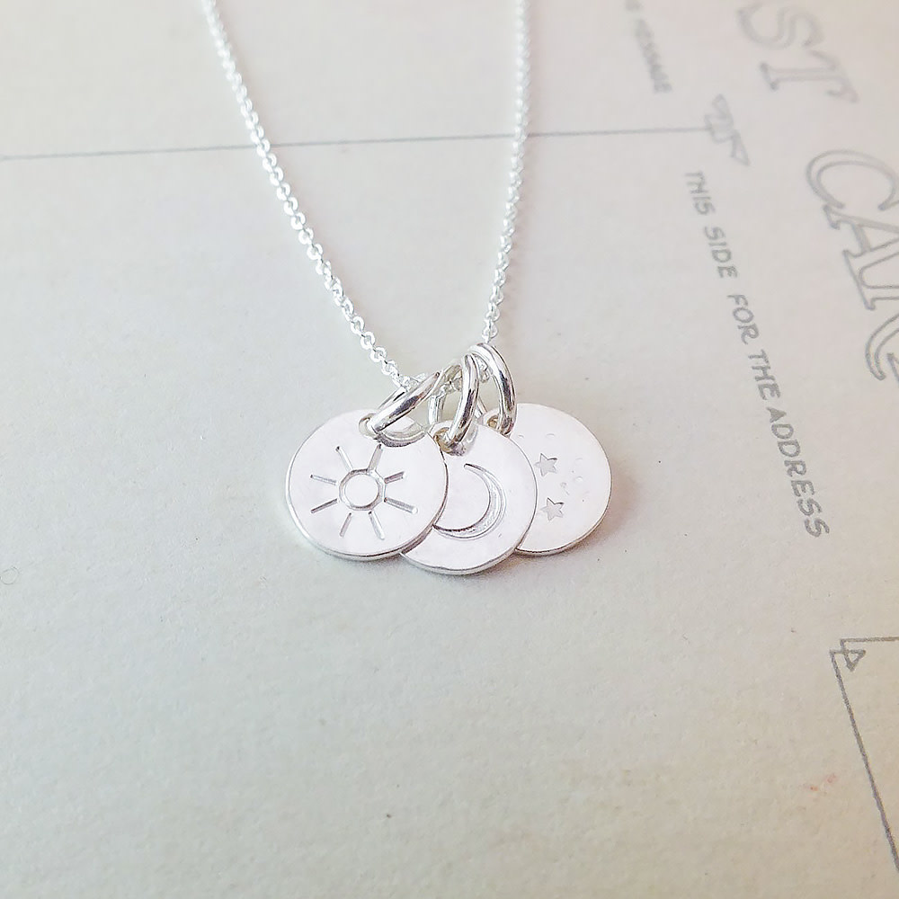 Becoming Jewelry Sun Moon and Stars Necklace - Sterling Silver