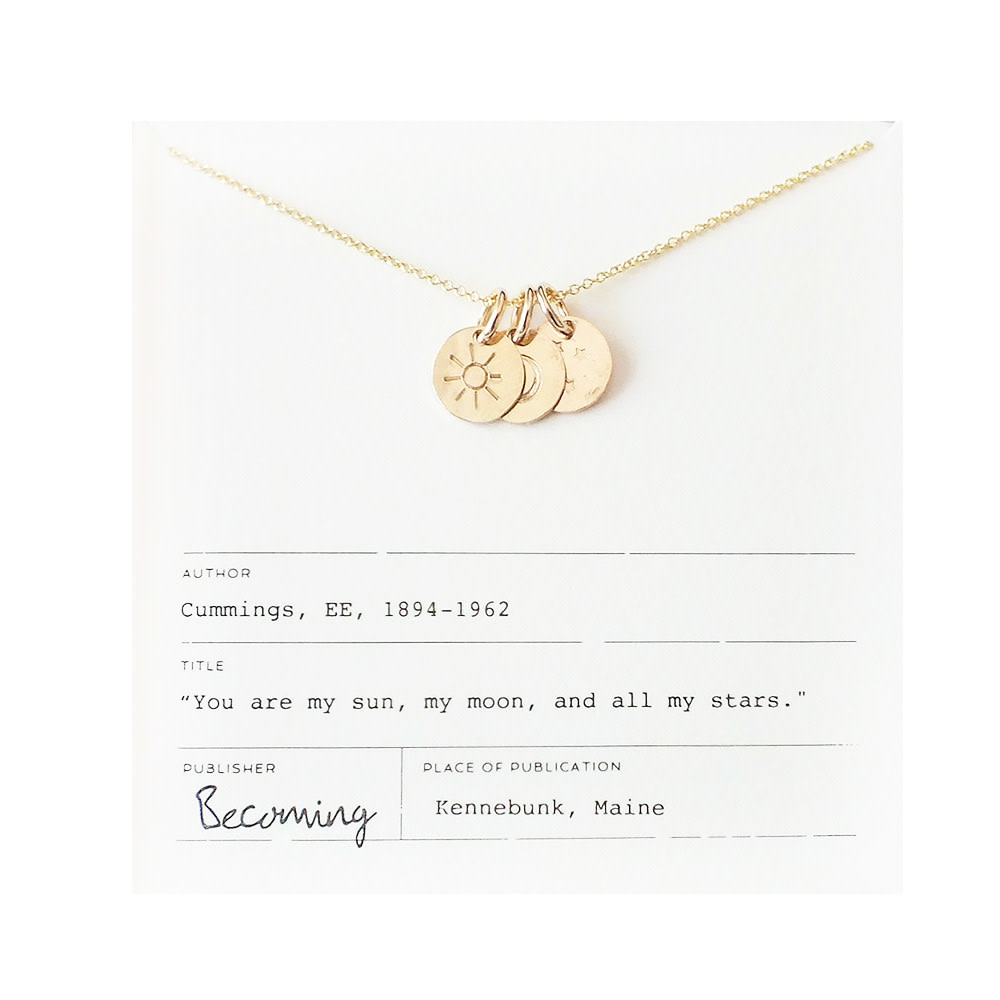 Becoming Jewelry Sun Moon and Stars Necklace - Gold-fill