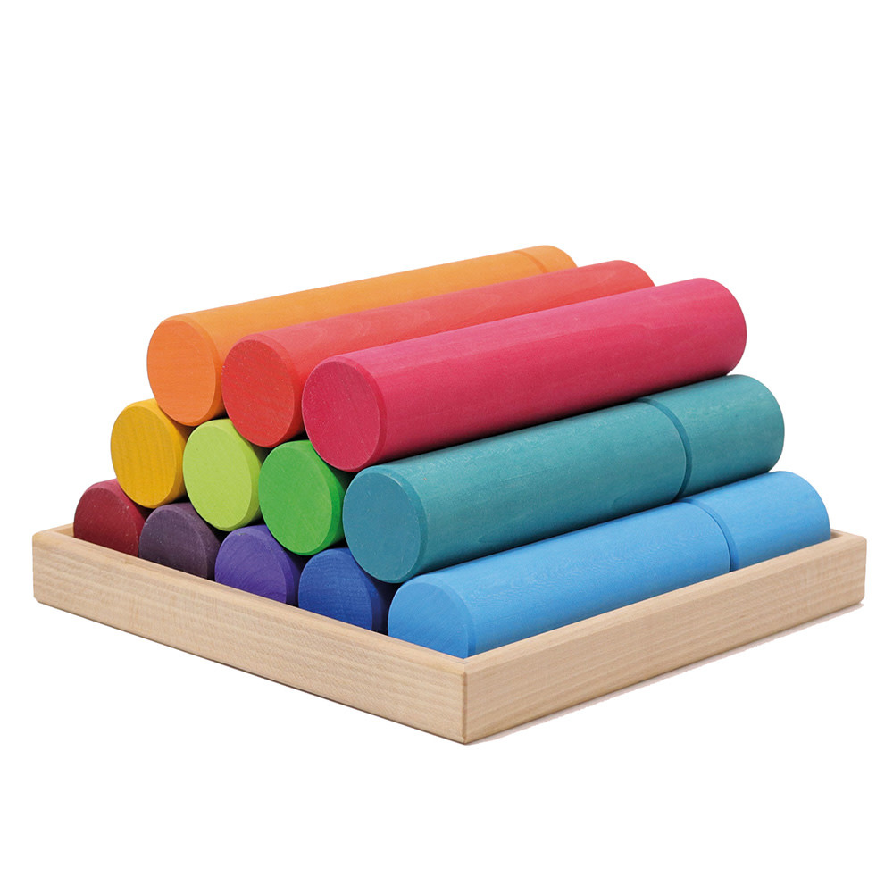 Grimms Large Building Rollers - Rainbow