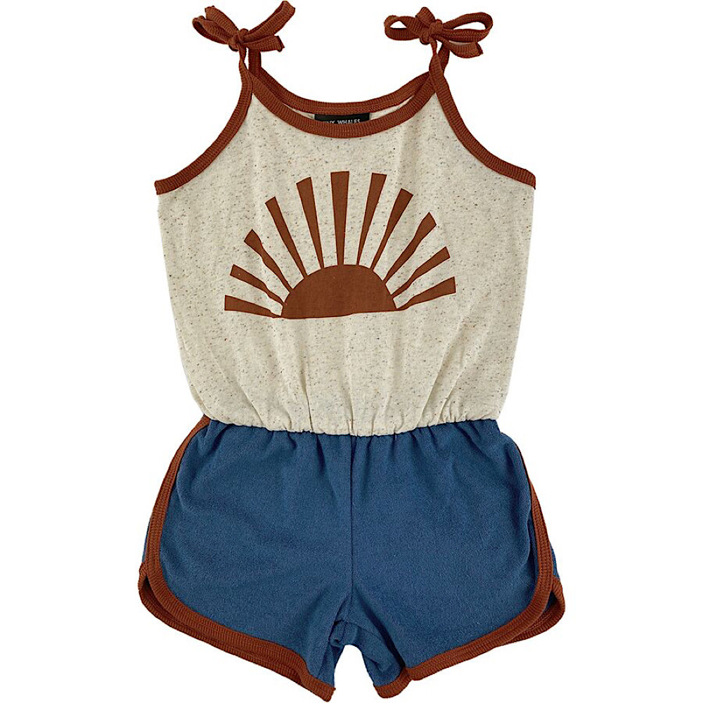 Tiny Whales Sunrise Romper - Navy Terry Loop/Multi Speckle