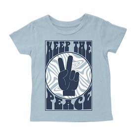 Tiny Whales Tiny Whales Keep The Peace Tee - Stone Blue