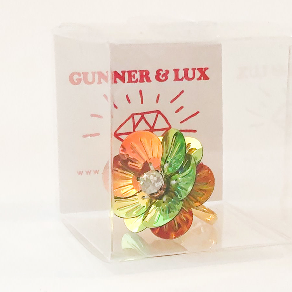 Gunner & Lux Adjustable Ring - Flower Power Diamond Holographic