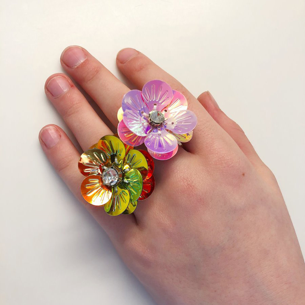 Gunner & Lux Adjustable Ring - Flower Power Pink Diamond