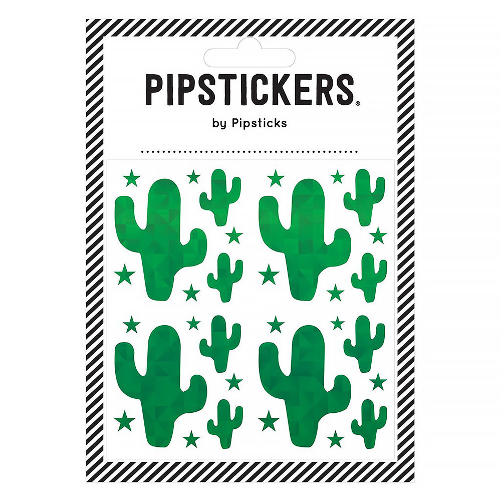 Green Holographic Cactus Stickers