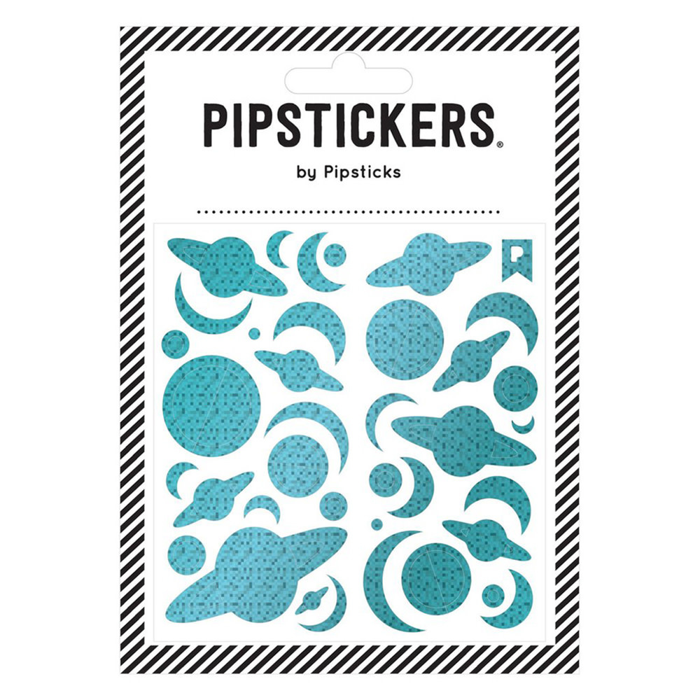 Pipsticks Blue Holographic Planets Stickers