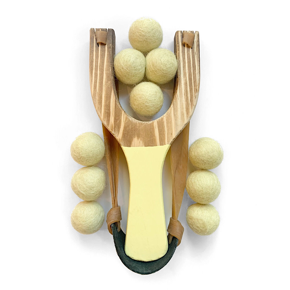 Little Lark Wooden Slingshot - Yellow Handle with Yellow Felt Balls
