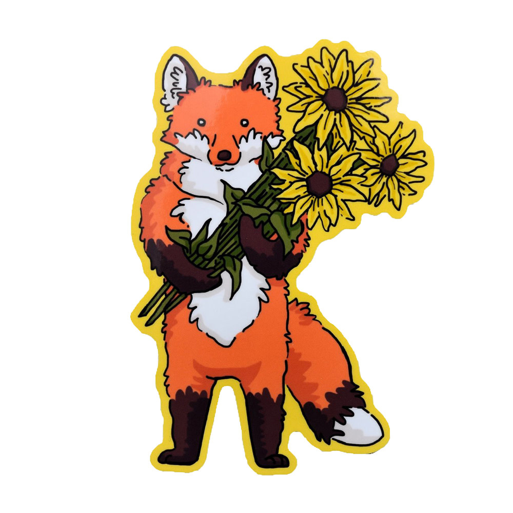 Quiet Tide Goods Vinyl Sticker - Fox & Flowers