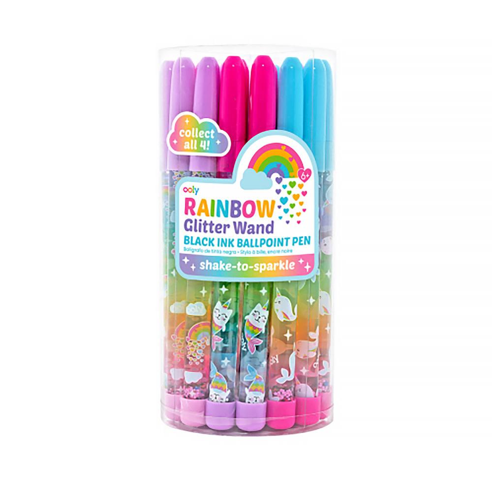 Rainbow Glitter Wand Ballpoint Pen
