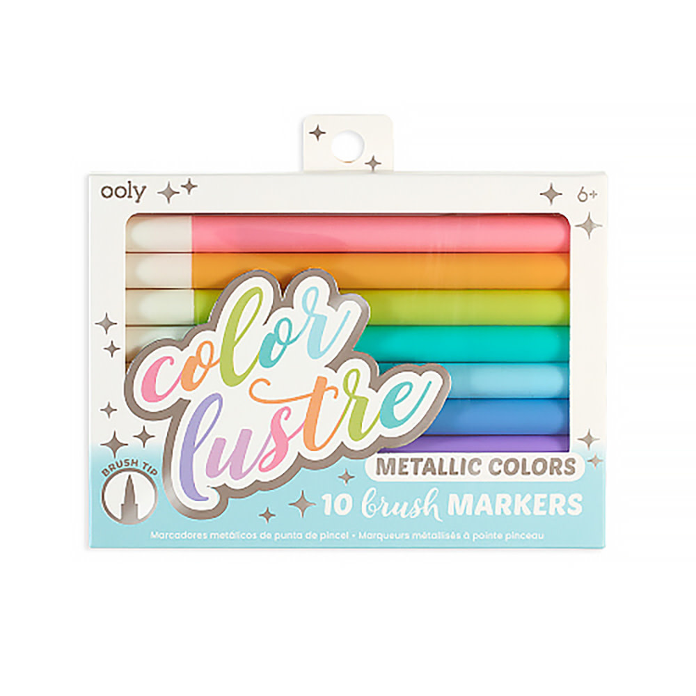 Ooly Color Lustre Metallic Brush Markers Set