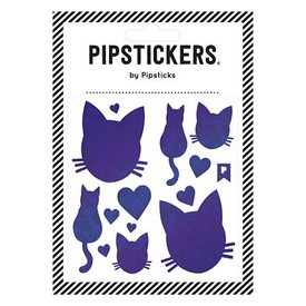 Pipsticks Blue Holographic Cats Stickers