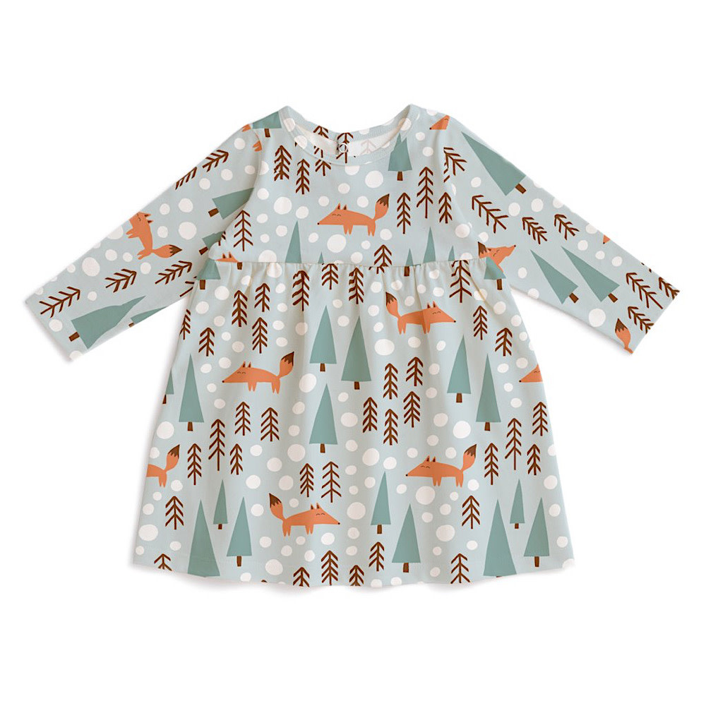 Winter Water Factory Geneva Baby Dress - Foxes Pale Blue
