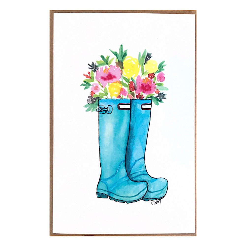 Cindy Shaughnessy Greeting Card - Wellie Boots