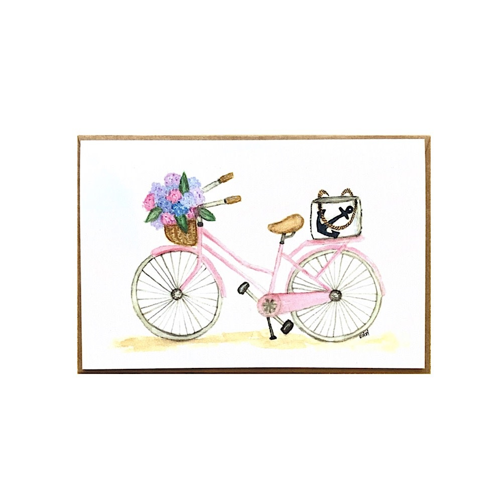 Cindy Shaughnessy Greeting Card - Pink Bike With Sea Bag