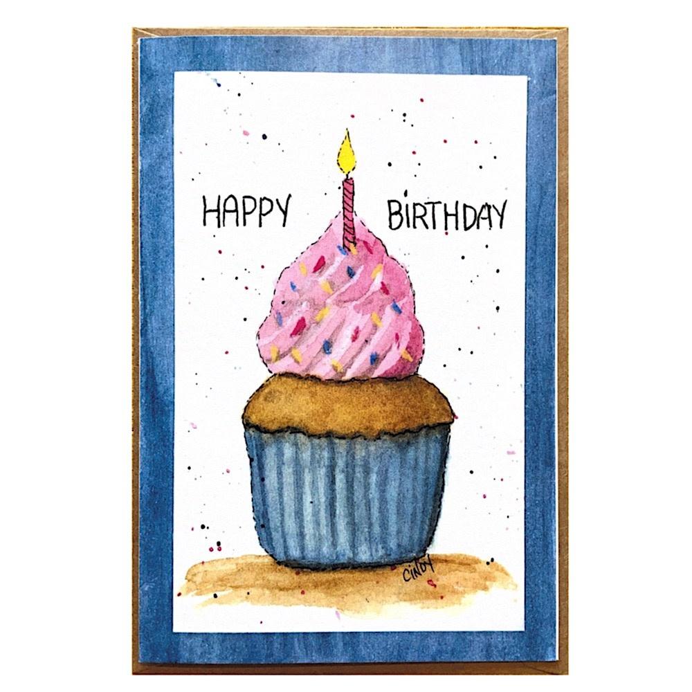 Cindy Shaughnessy Greeting Card - Happy Birthday Cupcake