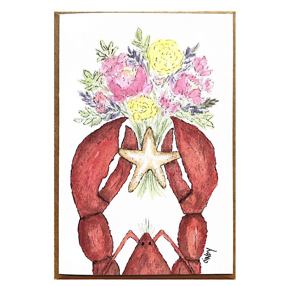 Cindy Shaughnessy Greeting Card - Lobster With Flowers