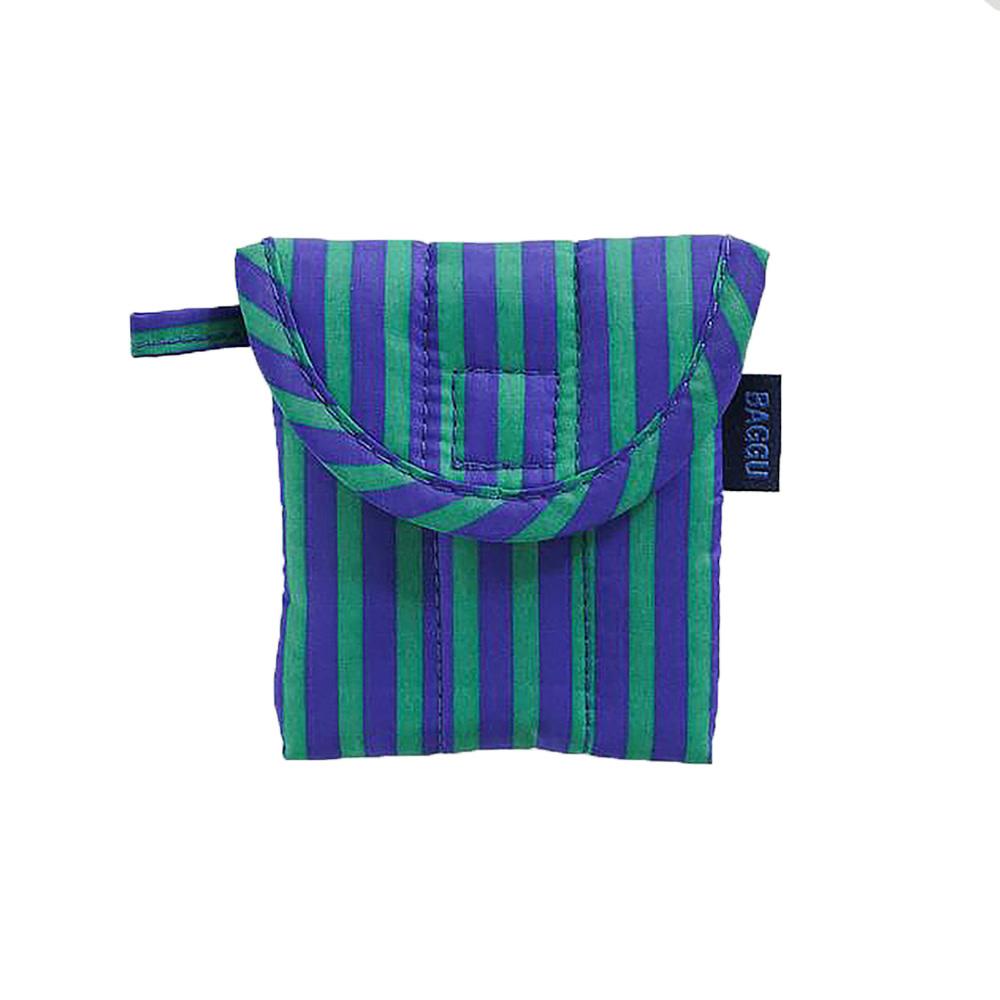 Baggu Puffy Earbuds Case - Cobalt and Jade Stripe