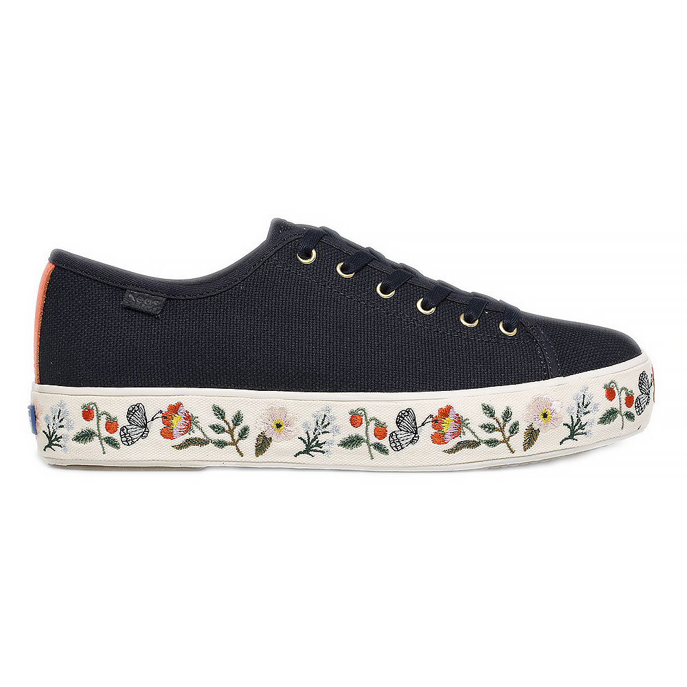 KEDS KEDS Adult + Rifle Paper Co. - Triple Kick / Strawberry Fields Embroidery - Navy