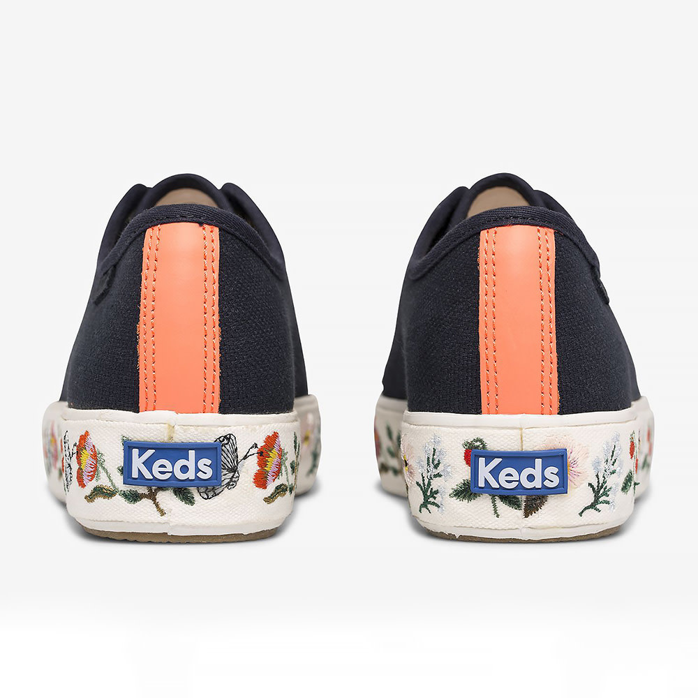 KEDS Adult + Rifle Paper Co. - Triple Kick / Strawberry Fields Embroidery - Navy