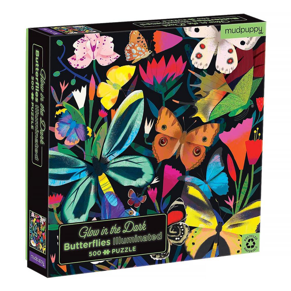 Mudpuppy Butterflies Illuminated 500 Piece Glow in the Dark